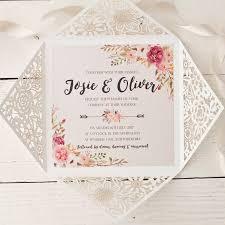Peony Floral Design Laser Cut Wedding Invitation