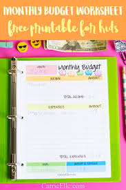 Budget For Free Free Monthly Budget Printable For Kids Carrie Elle
