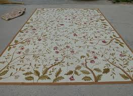 9 x 12 aubusson new zealand wool rug full fl bunches ivory hand woven