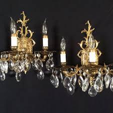 vintage pair brass crystal candelabra wall sconces 3 arm spai