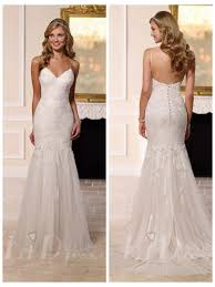 spaghettis straps sweetheart fit and flare wedding dress 2503431