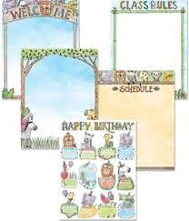 Happy Birthday Chart Decoration Bulletin Board Chart Set 5 Pieces Safari Friends Classroom E