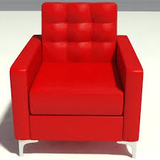 red lounge chair leather chaise