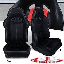 details about universal reclining pvc leather racing seats pair black stitch carbon fiber look
