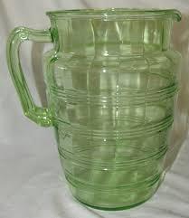 lot 95 vintage green depression glass pitcher 8 1 2 h ec