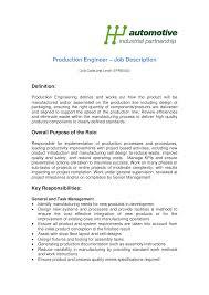 Free Production Engineer Job Description Templates At
