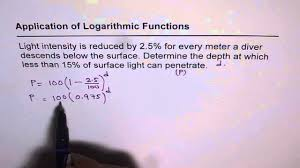 02 light intensity of logarithm to solve exponential equation