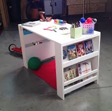 This is quite possibly the easiest desk you could ever make! It's just two  little bookshelves, with a premade (and precut) project panel on top!