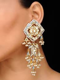 Long Heavy Earrings Design Buy Grey Gold Tone Kundan Inspired Earrings Online In 2020
