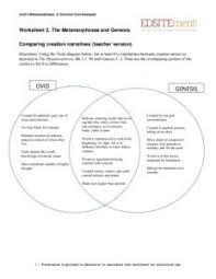 Genesis 1 And 2 Venn Diagram Ovids Metamorphoses A Common Core Exemplar Worksheet 2