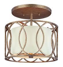troy three light deep bronze drum shade semi flush mount