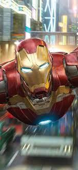 Iron Man flight, city, Marvel superhero ...