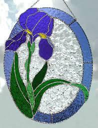 iris suncatcher in stained glass handcrafted glass sun catcher