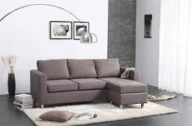 contemporary fabric l shape grey couch living room on white fur rug also chrome floor light varnished