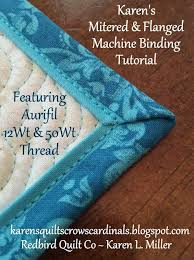 43 best quilt bindings images on Pinterest | Sewing projects ... & Karen's Quilts, Crows and Cardinals: Tutorial - Mitered and Flanged Machine  Binding Adamdwight.com