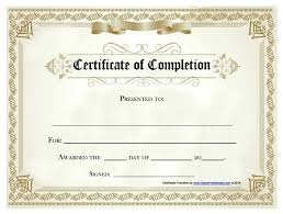 Sample Of Certificate Of Completion Free Template Certificate Free