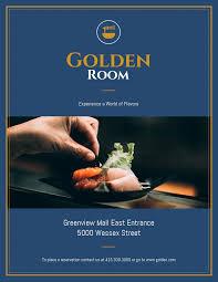 Fancy Flyers Dark Blue Gold Fancy Restaurant Flyer Idea Venngage