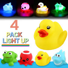 Light Up Rubber Duck Bath Toycan Flashing Colourful Light4 Packyeonha Toys