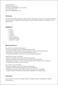Resume Templates: Garment Merchandiser