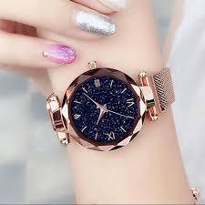 <b>Luxury Starry Sky</b> Women <b>Watches</b> Rose Gold Bracelet Magnet ...