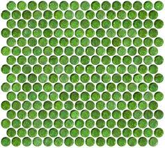 Penny Round Green Iridescent Glass Tile
