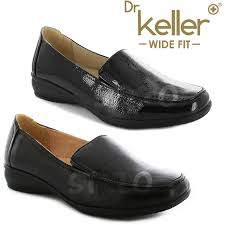 details about las women wide fit shoes low wedge leather lining work moccasin casual loafer