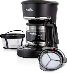 Mister coffee began in 1982 tracing the best coffee beans from around the world. Amazon Com Mr Coffee 5 Cup Programmable 25 Oz Mini Brew Now Or Later With Water Filtration And Nylon Reusable Filter Coffee Maker Black Kitchen Dining