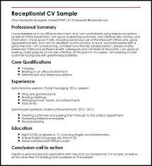 Cv Examples Administration Receptionist Cv Sample Myperfectcv