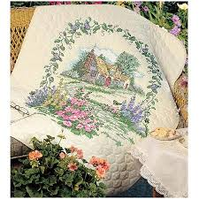 """Buy Dimensions """"Hollyhock Cottage"""" St&ed Cross Stitch ... & Buy Dimensions """"Hollyhock Cottage"""" Stamped Cross Stitch Quilt Kit,  34"""" x 43"""" in Cheap Price on m.alibaba.com Adamdwight.com"""