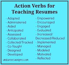 Verbs Resume To Use On Action For Teaching Resumes Words Other Than New Action Verbs Resume