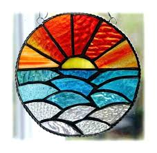 beginning stained glass patterns average beginners sunset ocean waves free