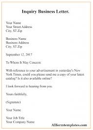 Business Correspondence Letters Examples Free Sample Inquiry Business Letter Template With Example