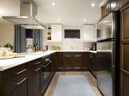 Minimalist Kitchen Interior Decorated with Gorgeous Two Tone Kitchen  Cabinets Created with Hardwood Flooring
