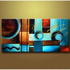 blue and brown circles modern abstract oil painting canvas wall art free shipping decorative artist for home office in painting calligraphy from home  on blue brown wall art with blue and brown circles modern abstract oil painting canvas wall art