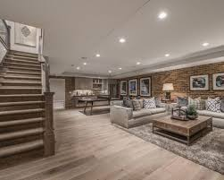 Example of a large classic light wood floor and brown floor basement design  in Salt Lake