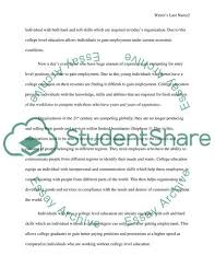 Why Is An Education Important In Todays Work Force Essay