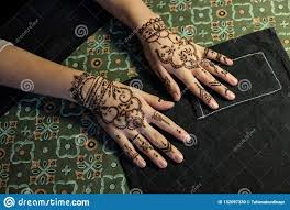 Beauty Concept Two Hand Of Girl Being Decorated With Henna Mehendi