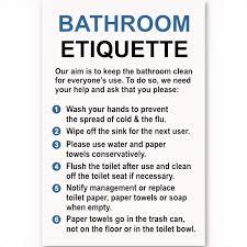 bathroom etiquette sign custom signs