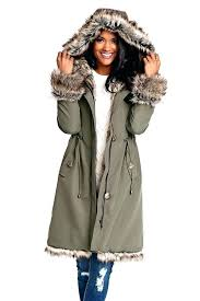 fur coats for women olive hooded faux fur lined knee length coat 1 womens real fur fur coats