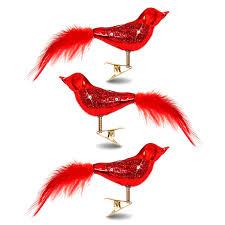 Sikora Christbaumschmuck Glas Ornament Clip Vogel Mit Federn Und Pailletten Rot 3er Set L19cm