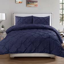 details about luxury 3 piece pinch pleat pintuck duvet cover pillow sham set navy king