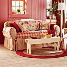 red and yellow french country sure fit shabby french fl toile plaid sofa slipcover red