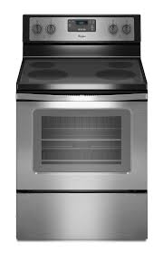 whirlpool smooth surface 4 8 cu ft freestanding electric range black on stainless