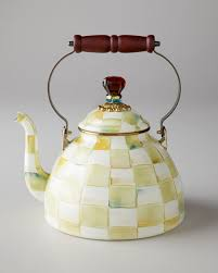 mackenzie childs parchment check 2 quart tea kettle