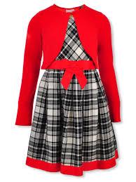Bonnie Jean Girls Grosgrain Trimmed Plaid Dress With Cardigan