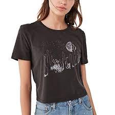 Sommer Schwarz T Shirt Damen Mit Druck Tumblr Grunge Chic Locker