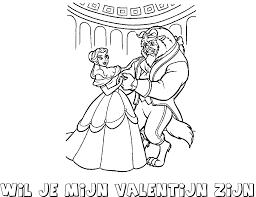 Belle En Het Beest Wil Je Mijn Valentijn Zijn Kleurplaat