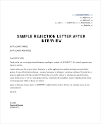 Rejection Letter Sample