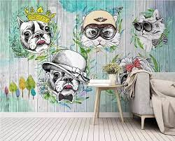 Custom wallpaper hand painted animals ...