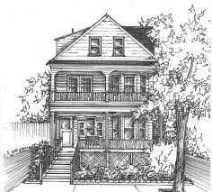 architectural drawings of houses. Ink House Drawing - Architectural Sketch Of Home In Black Ink- Portrait On Etsy Drawings Houses R